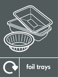 Household metal packaging (foil trays) signage - foil trays icon with logo (portrait)
