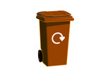 Closed brown bin with logo