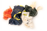 Assorted scrunched up plastic carrier bags
