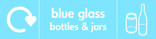 Blue glass signage - bottles & jars icon with logo (landscape)