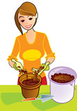 Woman using compost in plant pot