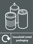 Household metal packaging (cans & aerosol) signage - assorted cans icon with logo (portrait)