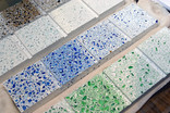 Tiles made from recycled glass