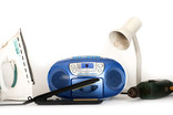 Assorted electricals - iron, hair straighteners, stereo, lamp, drill