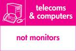 Telecoms & Computers signage - computer & fax icon (landscape)