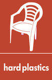 Hard plastics signage - garden chair icon (portrait)