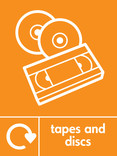Tapes & discs signage - cd & videotape icon with logo (portrait)