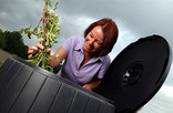 Woman putting branches into black compost bin