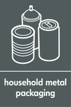 Household metal packaging (cans & aerosol) signage - assorted cans icon (portrait)