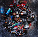 Bin full of batteries for recycling
