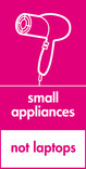 Small appliances (not laptops) signage - hairdryer icon (portrait)