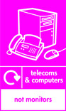Telecoms & Computers signage - computer & fax icon with logo (portrait)