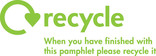 Recycle Mark with message for printed pamphlets