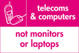 Telecoms & Computers (not monitors or laptops) signage - phone & mouse icon (landscape)