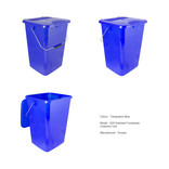 Transparent blue kerbside food waste bin
