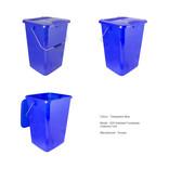 Transparent blue kerbside food waste bin