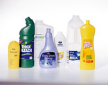 Assorted plastic bottles - toiletries, cleaning products, milk bottle