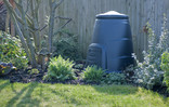 Compost bin in garden with wooden fence