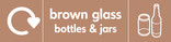 Brown glass signage - bottles & jars icon with logo (landscape)