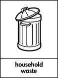 Household waste signage - bin icon (portrait)