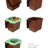 Brown food waste kitchen caddy shown with and without compostable liner