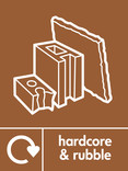 Hardcore & Rubble signage - rubble icon with logo (portrait)