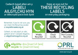 On-pack Recycling Label - bilingual section for use on A5 Leaflet with Recycle for [area] logo (Welsh-English)