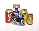 Drinks cans in a row