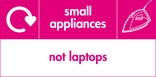 Small appliances (not laptops) signage - iron icon with logo (landscape)