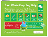 Food waste bin sticker for flats
