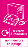 Telecoms & Computers (not monitors or laptops) signage - computer & fax icon with logo (portrait)