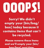 Recycle Now Contamination red bin/box/sack sticker