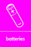 Batteries signage - battery icon (portrait)