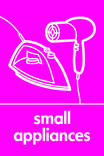 Small Appliances signage - iron & hairdryer icon (portrait)