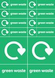 Bin & bank stickers - Green waste text + logo